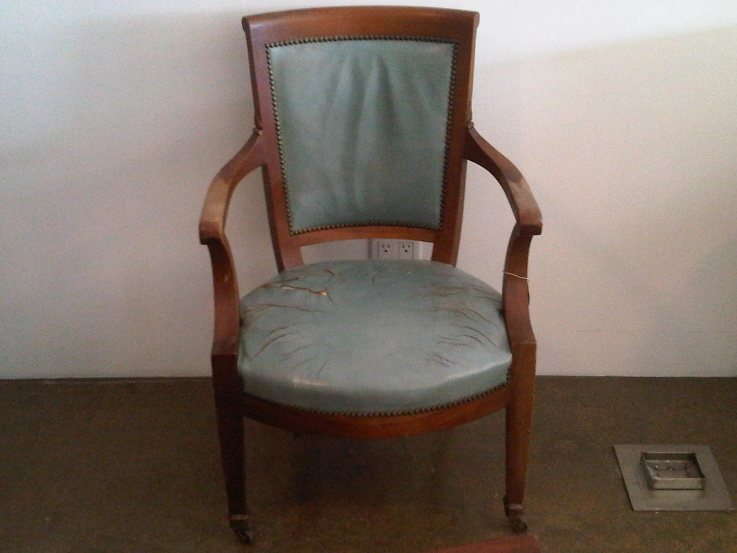 Blue Leather Chair Antique Robins Egg Blue Leather Chair