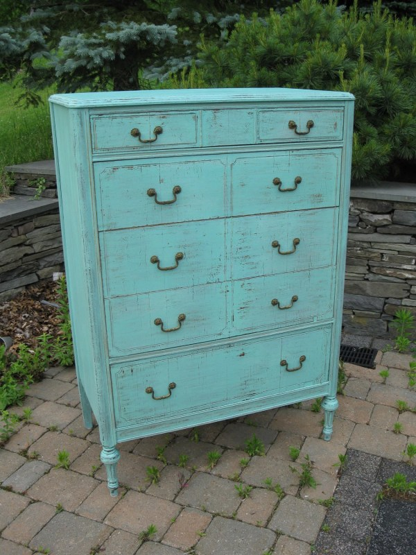 Chic And Shabby Beachy Aqua Tall Dresser Chest Of Drawers