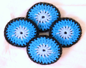 Nylon Pot Scrubbies - Set of 4 - Multicolor Black and Blue - ArtistBeeBee