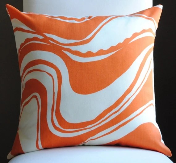 NEW Beautiful Carmel Coastline Print--Tangerine-Trina Turk-OUTDOOR FABRIC-Both Sides-Decorative Pillow-Toss PIllow