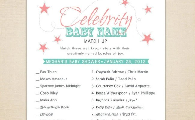 Items Similar To Celebrity Baby Name Matching Game For
