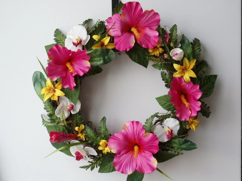 Hibiscus Wreath Exotic Wreath Tropical Wreath Hibiscus Lily