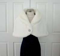 Faux Fur Stole Bridal Wrap Cape Shrug White Vintage Pattern