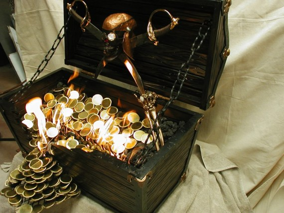 Flaming Pirates Treasure Chest - firesculptureart