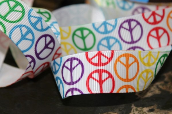 Peace Sign Ribbon 7 8 Grosgrain Rainbow