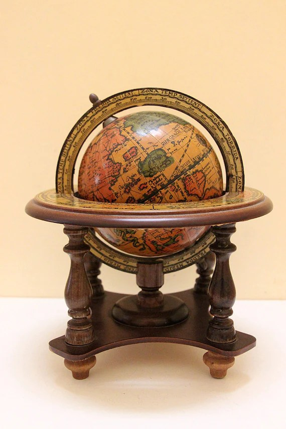 Vintage Small Wooden Globe Stand For Desk
