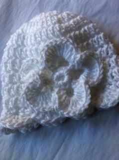 Crochet White Hat with Flower, Baby Hat, Newborn Hat, Baptism, Photo Prop, Cozy, Christmas Hat, Holiday Baby Hat