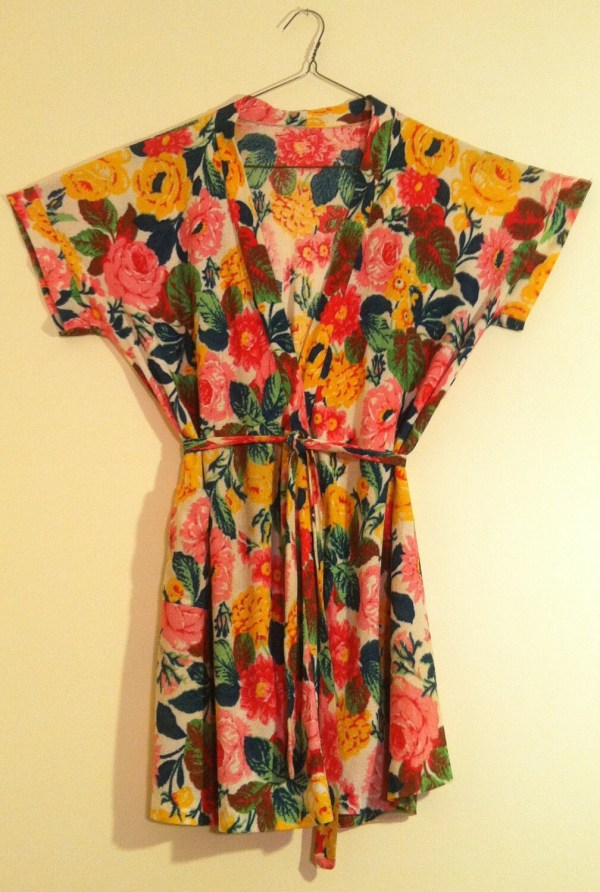 Bright Floral Terry Cloth Robe 1970' Beach Cover
