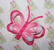 pink butterfly hair clip ribbon