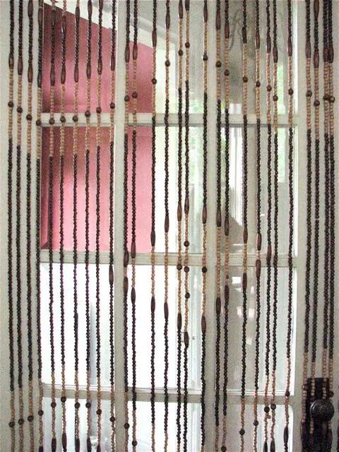 Vintage 1960s Wooden Bead Door Curtain Groovy Hippie Decor
