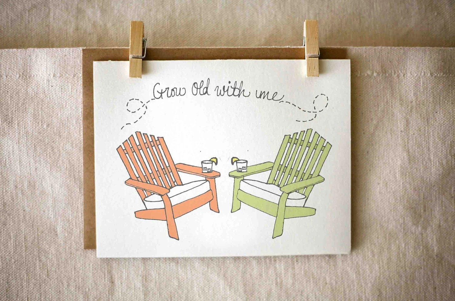 Anniversary card, porch chairs, red and green, i love you, eco friendly, hand drawn stationary - JoyInspiration