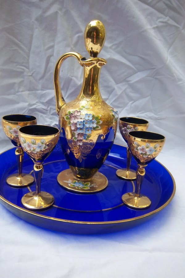 Vintage Murano Cobalt Glass Cordial Set With Decanter