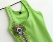 Neon Green Women Top SIZE M Hand Painted Peacock Feather Design - MishMashStore