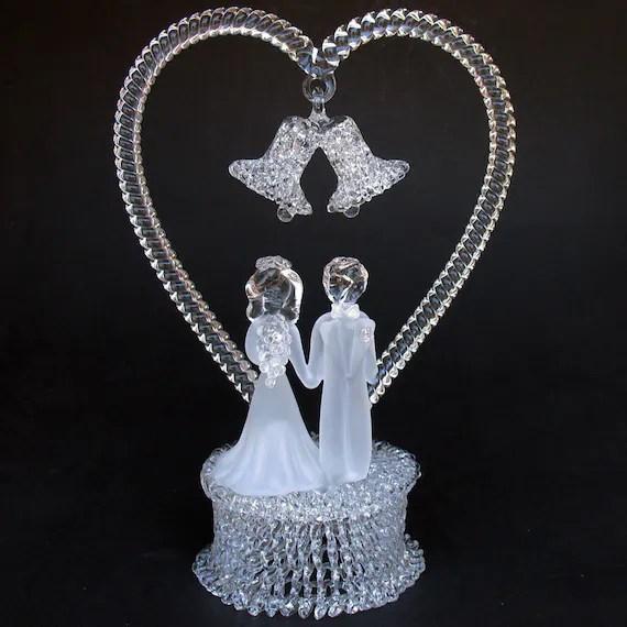Bride and Groom Figurine Glass Wedding Cake Top Topper
