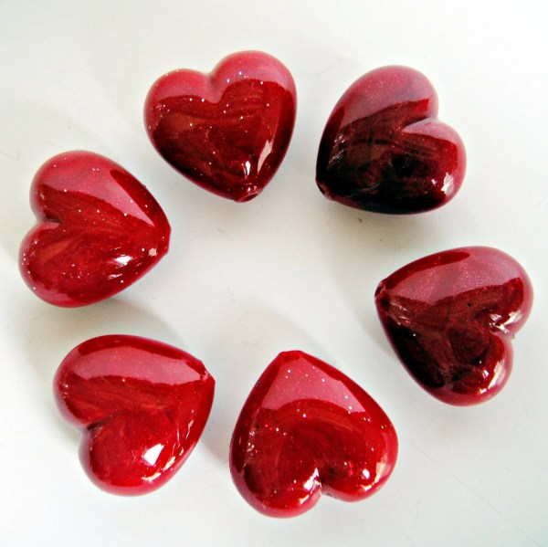 Polymer Clay Heart Beads Scarlet Red Valentine Shooglybeads