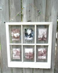 Six-pane window frame rustic picture frame gray washed