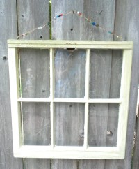 Six-pane window frame rustic picture frame pale yellow