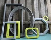 """Frame set collection gallery wall lime green grey white black """"Lime in the Storm II"""" - TRWpainted"""