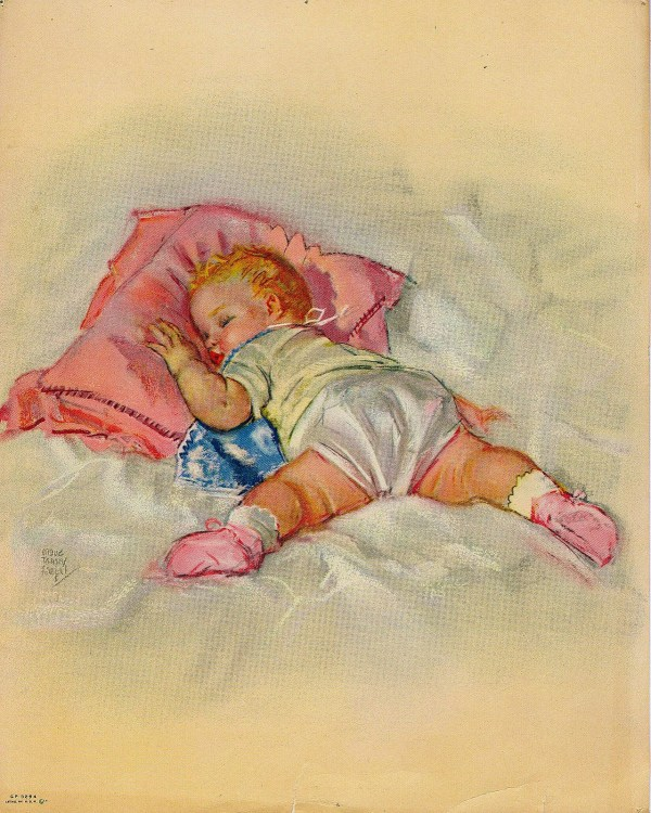 Vintage 1950s Baby Girl Lithograph Print Nursery Decor