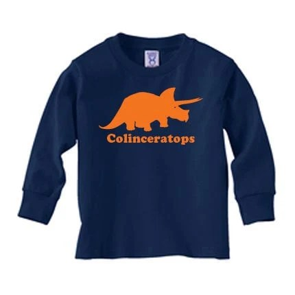 Personalized Kids dinosaur long sleeve t shirt, dinosaur name t shirt, triceratops shirt, kids gift