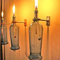 HARDWARE ONLY - 3 Wine Bottle Oil Lamp Kits - INDOOR