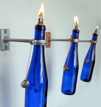 1 Blue Wine Bottle Oil Lamp INDOOR Wall Sconce Hanging