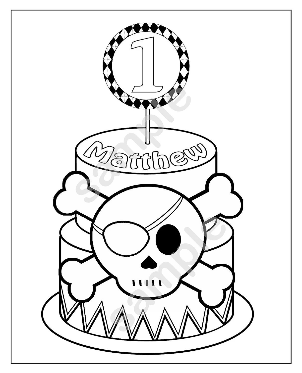 Personalized Printable Pirate Skull Crossbones Cake Birthday