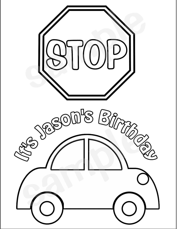 Personalized Printable Transportation Stop sign car Favor