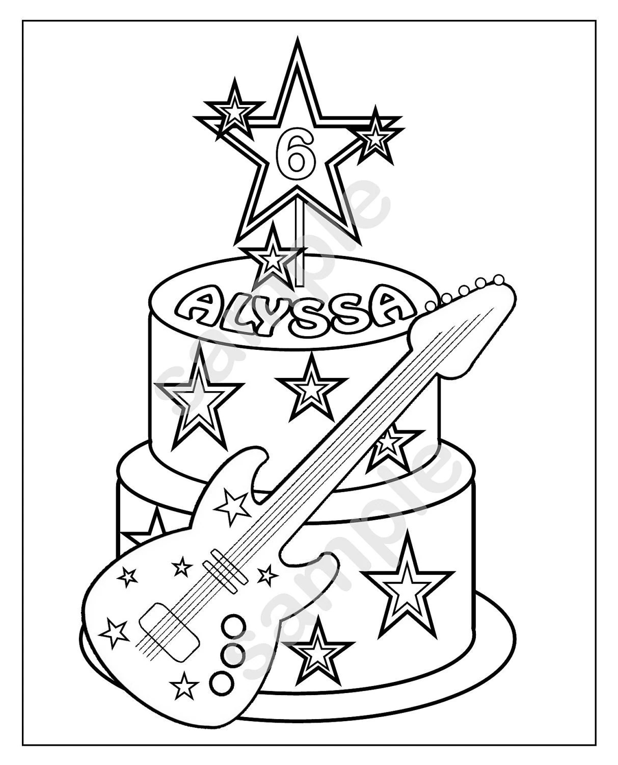 Personalized Printable Rockstar Cake Birthday by