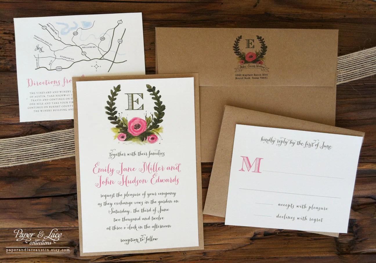 Rustic Illustrated Wedding Invitation Set