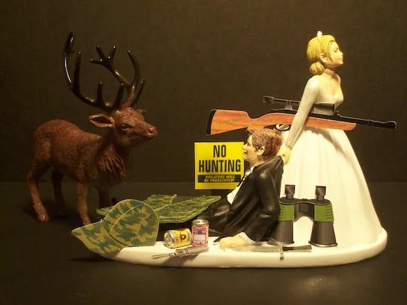 NO HUNTING DEER Moose Elk Bride and Groom Wedding Cake Topper