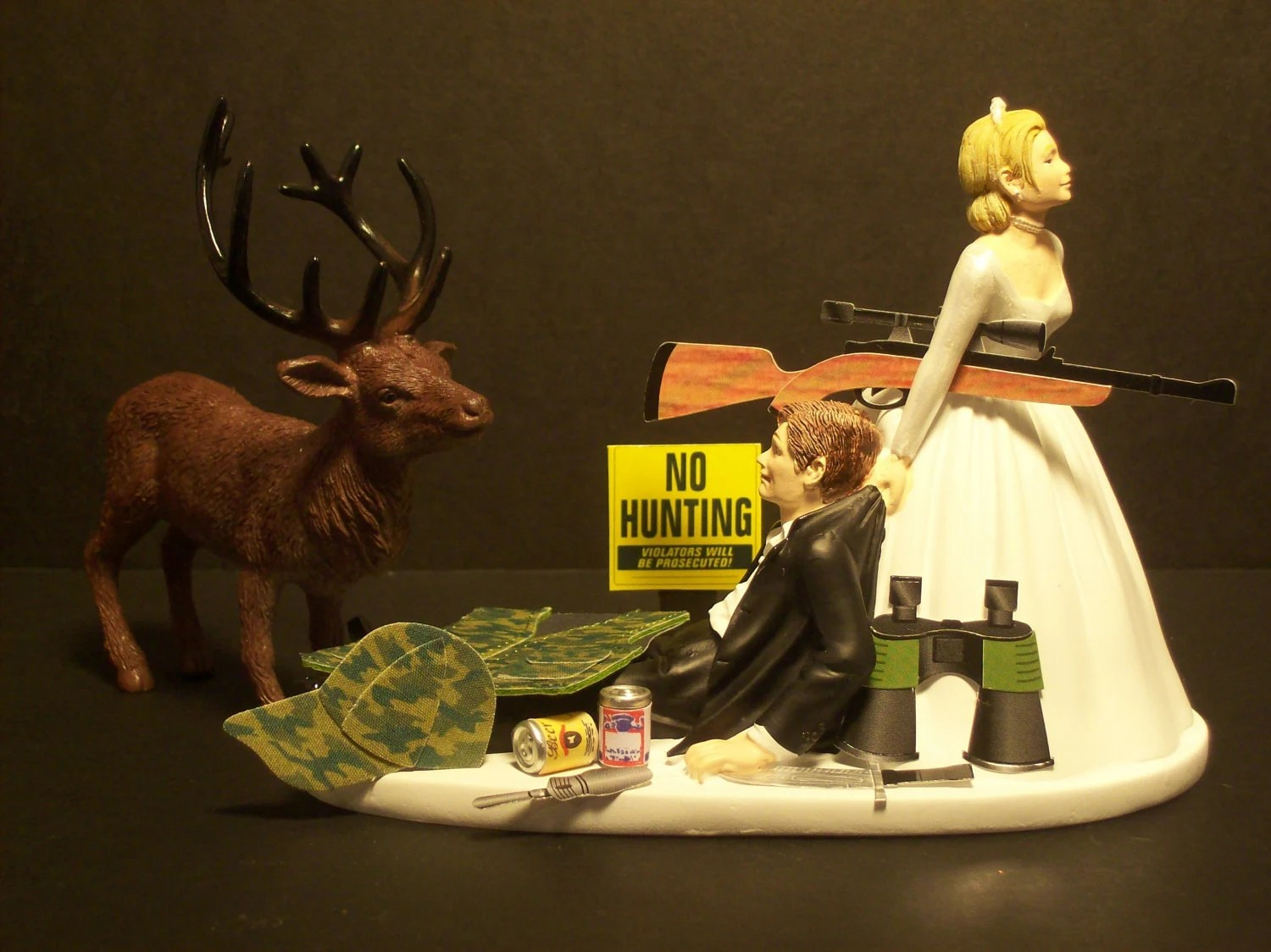 NO HUNTING DEER Bride And Groom Wedding Cake Topper By