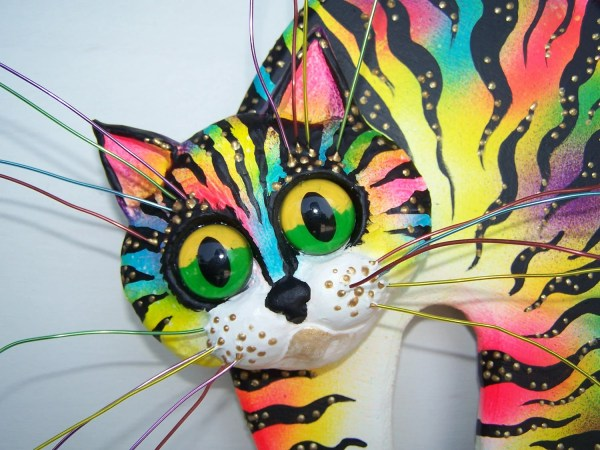 Whimsical Cat Art Sculpture