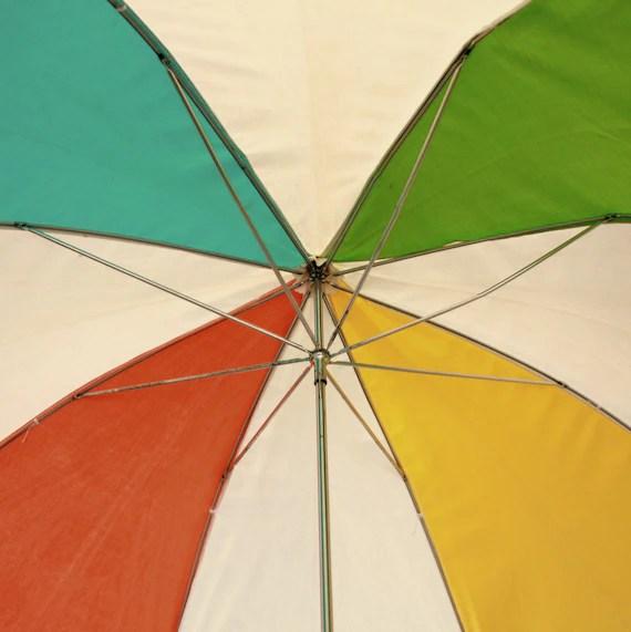 Vintage Beach Umbrella Clamp On Beach Chair Colorful Rainbow