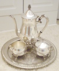 Vintage Leonard Silver Plate 4 Pc Tea Set Made in Italy