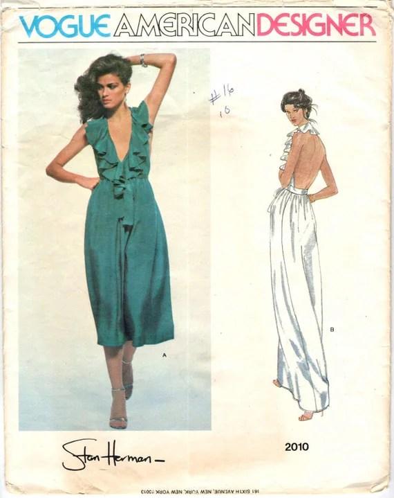 Gia Carangi models Vogue 2010, a ruffled backless dress by Stan Herman