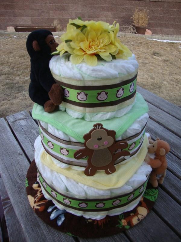 Green Monkey Diaper Cake