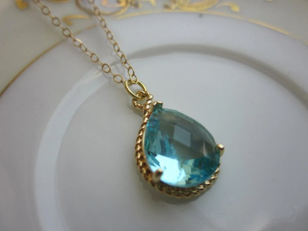 Aquamarine Necklace Gold Aqua Blue Teardrop 14k Filled