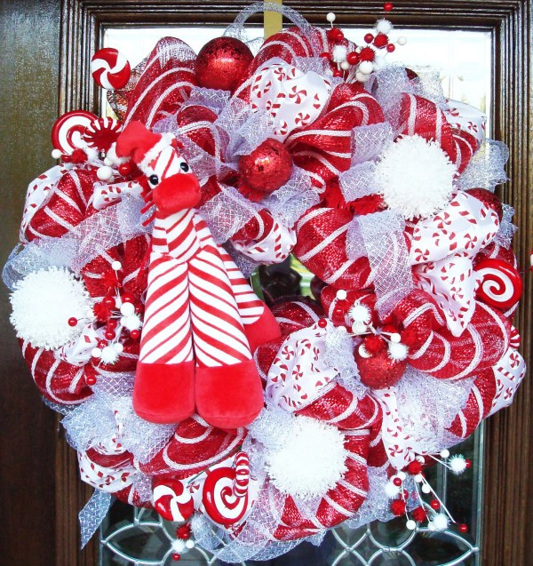 Red and White Christmas Deco Mesh Wreath