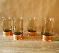 Copper Coffee Mug Cup Beucler Base Smoked Glass Set 4