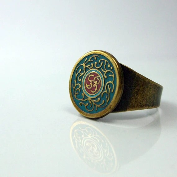 Items similar to Old Style Ring brass jewelry gold green