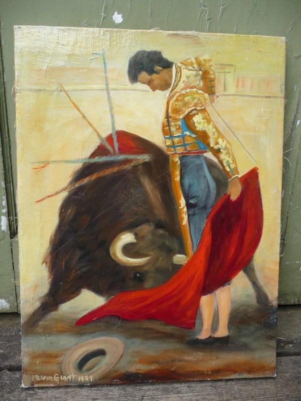 Vintage Matador Bull Fighting Oil Painting