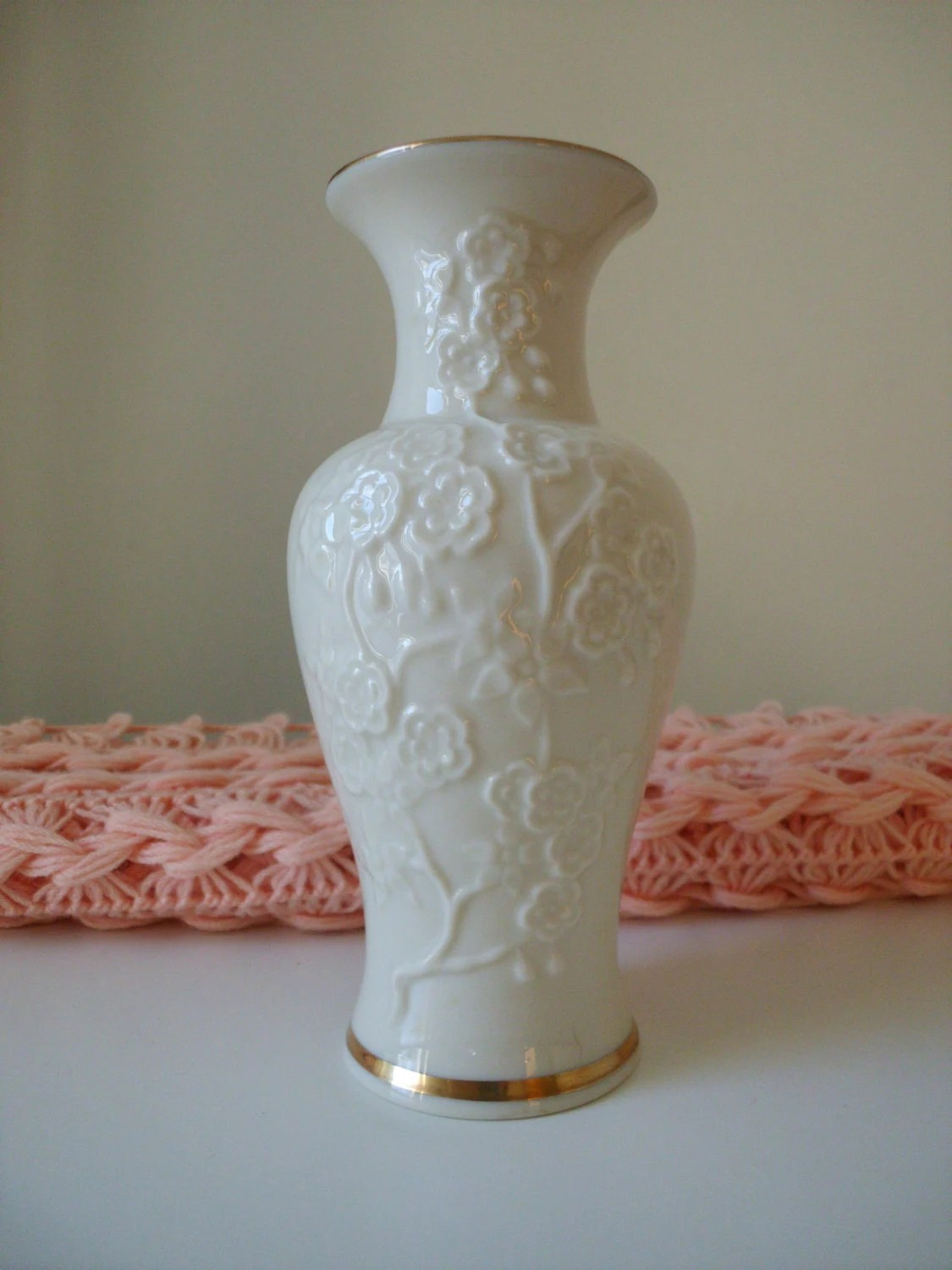 Vintage Lenox Embossed Flower Bud Vase by pinkpalmtree on Etsy
