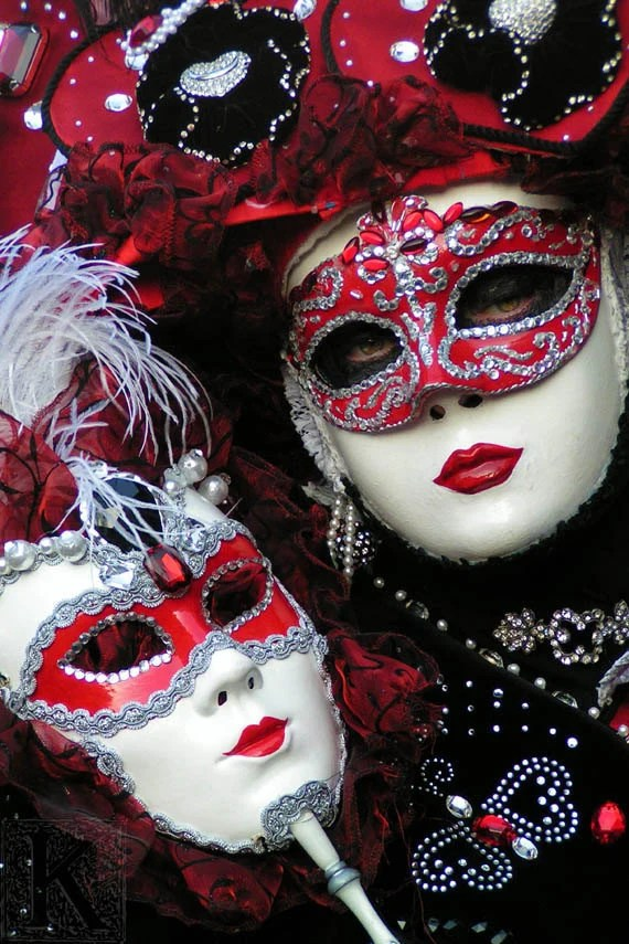 Red Lipstick  - Signed photo 4 x 6 - mask masquerade Venice Carnival red passion baroque romantic baroque valentine - krystarka