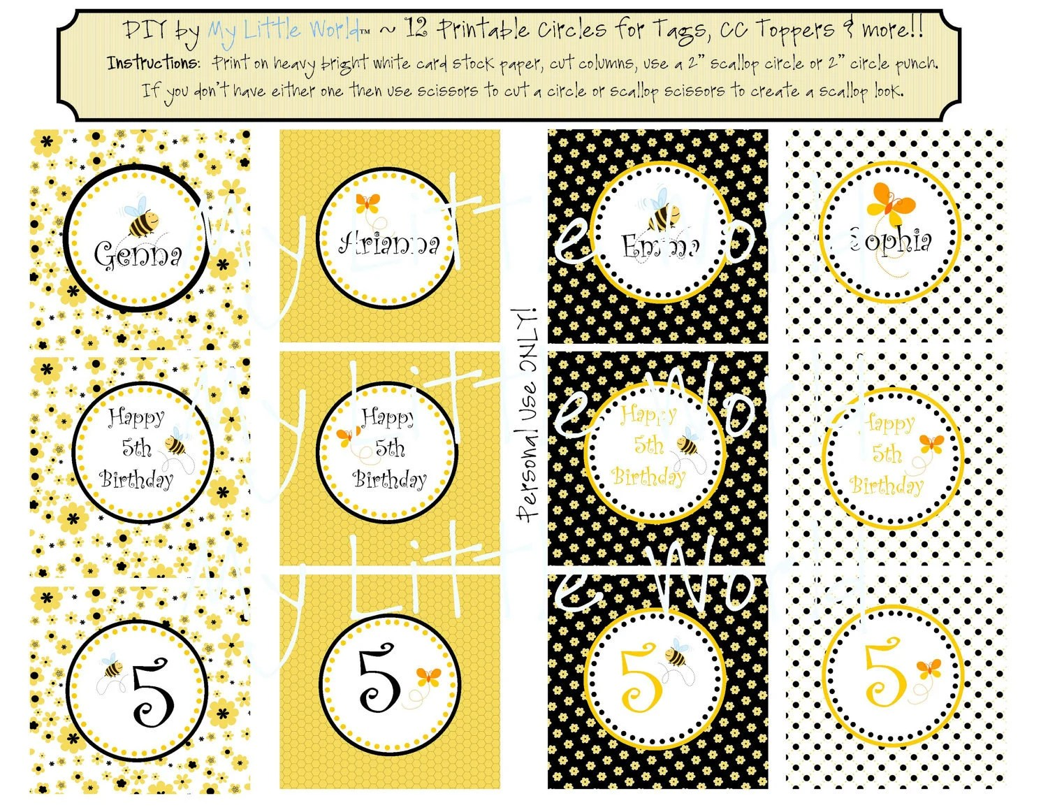 Diy Printable Party Circles In Bumble Bee And Butterfly