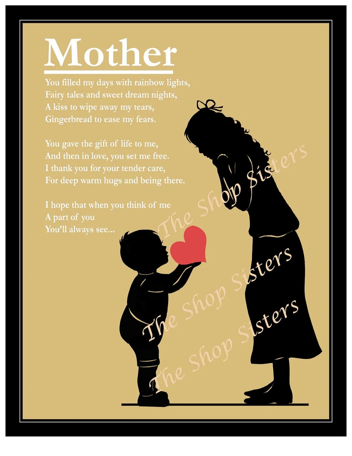 Mother And Son Mother S Day Poem Heart Silhouette Natural