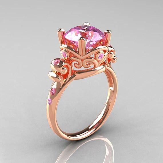 Modern Vintage 14K Rose Gold 25 Carat Light Pink Sapphire