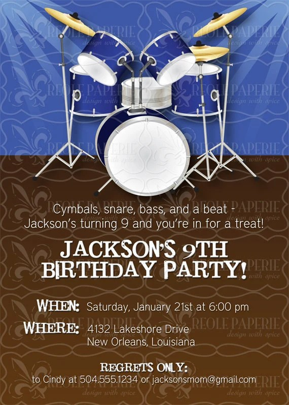 Drummer BoyDrum Themed Party Birthday Invitation