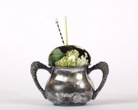 Pincushion Sugar Bowl Shabby Chic Double by KarenGriskaQuilts