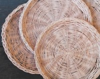 Vintage Wicker Paper Plate Holders Pale Pink Set of Four 4
